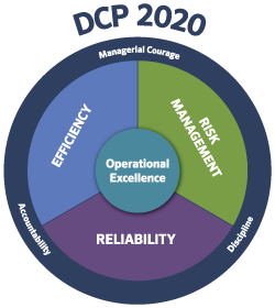 Chart for DCP 2020 Strategy: Efficiency, risk management, Reliability